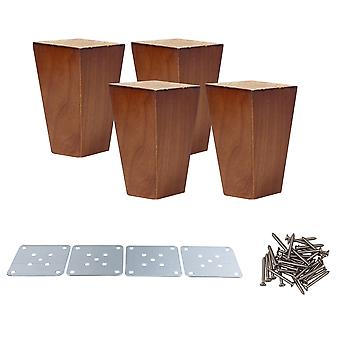 4 Pieces Wooden Square Furniture Feet Cabinet Legs Replacement 10CM