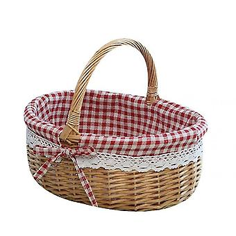 Picnic Basket Natural Woven Woodchip With Double Folding Handles  Basket(Red)