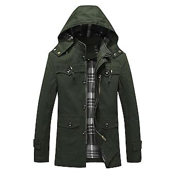 Homemiyn Men's Solid Color Stand Collar Detachable Hooded Jacket Casual Top Trench Coat