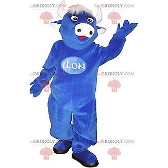 Mascote REDBROKOLY.COM vaca azul com cabelos brancos e chifres