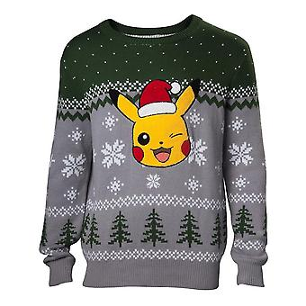Pikachu Winking Christmas Knitted Sweater, Homme, Extra Large, Multicolore