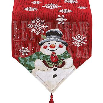 Swotgdoby Christmas Tablecloth, Cotton And Linen Snowman Embroidery Table Runner, Home Table Decoration