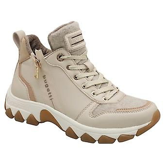 Bugatti Beige Lace Up High Top Trainer With Side Zip