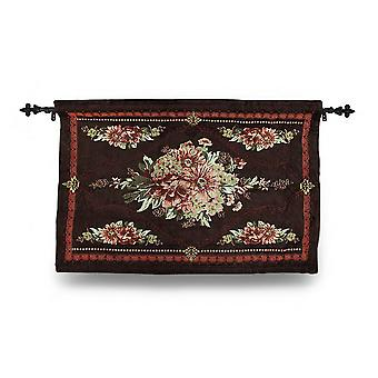 Brown Floral Josephine Tapestry Wall Hanging w/Rod 36 X 26 In.