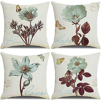 Pack Of 4 Cushion Covers, Farmhouse Vintage Retro Flower Pattern 18x18 Inches
