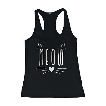 Meow söt Kitty ansikte Women's Tank Top svart ärmlös tankar för kattvänner