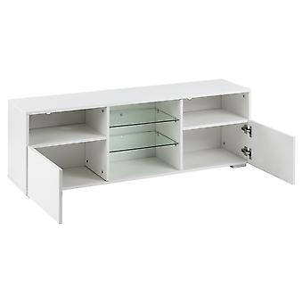 Led Tv Stand Cabinet Table With Storage In White Matt