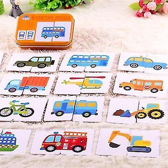 Interlocking blocks graph match game kid's early educational montessori toys puzzle card cartoon vehicle |math toys