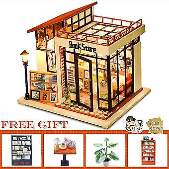 Cutebee diy babaház készlet fa babaház miniatűr ház bútorkészlet casa zene vezetett játékok