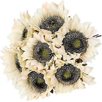 7 חתיכות חמניות מלאכותיות פרחים מלאכותיים רטרו זר קישוט צהוב