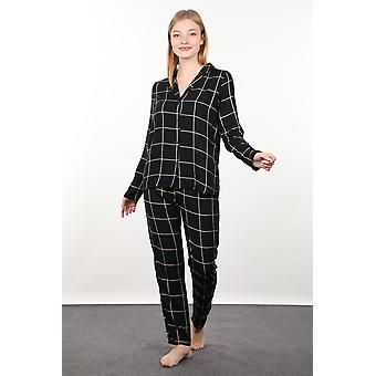 svart plaid kvinners pyjamas sett