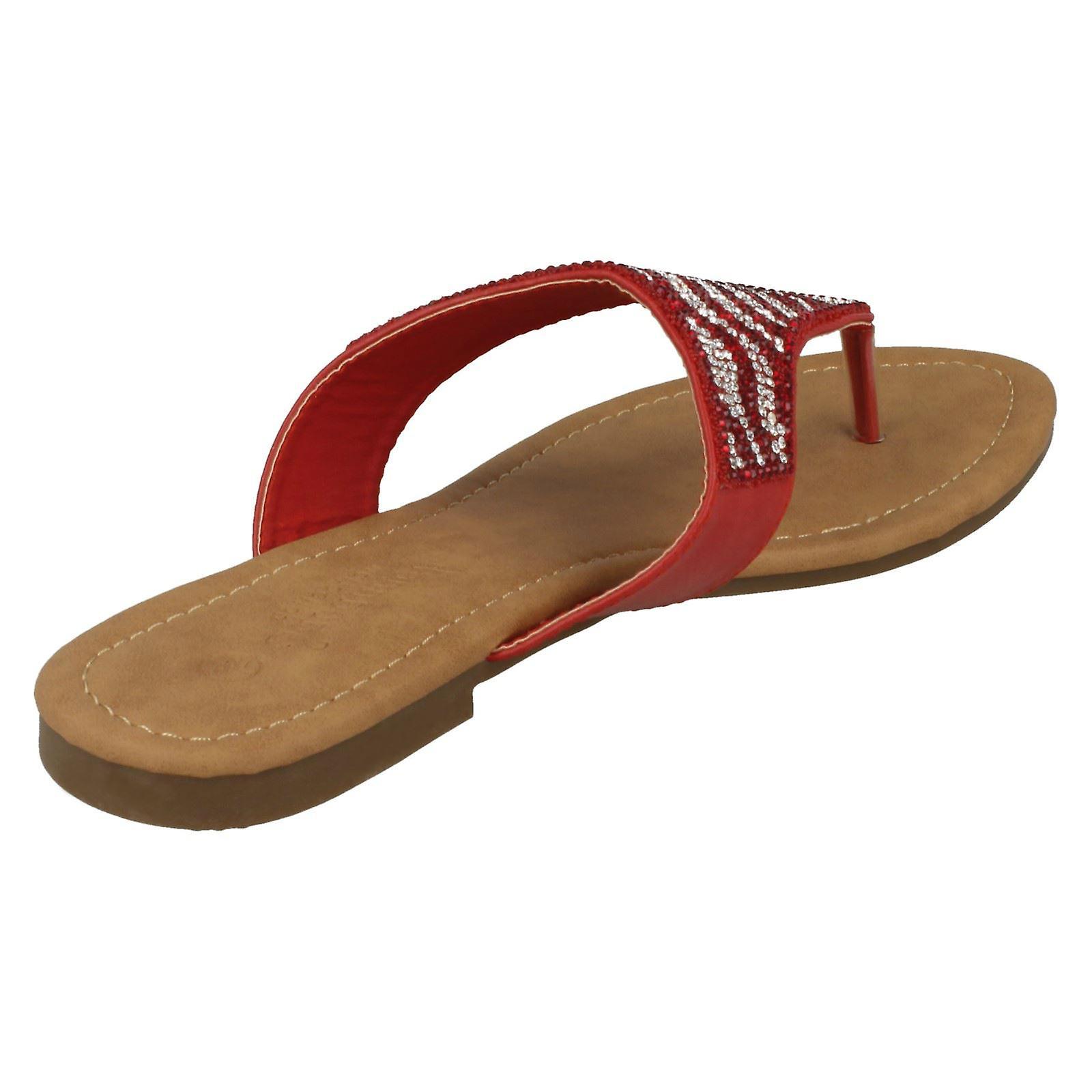 Ladies Savannah Flat Diamante Toe innlegget sandaler F000010