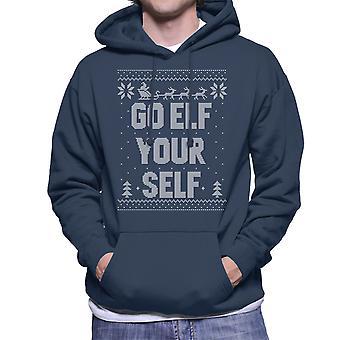 Go Elf Yourself Christmas Knit Pattern Men's Hooded Sweatshirt