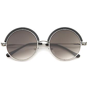 Cadre rétro en métal mince Temple haut garniture lentille plate ronde lunettes de soleil 51mm
