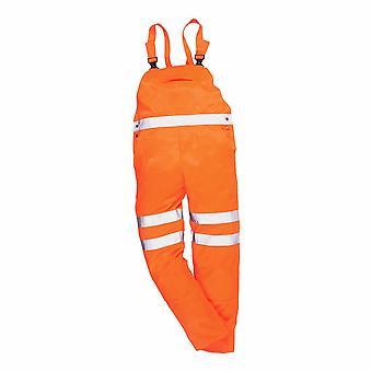 sUw - Hi-Vis Sicherheit Arbeitskleidung Rail Track Seite Bib & Klammer Latzhosen RIS