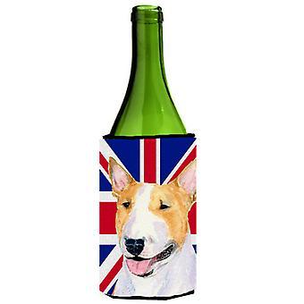 De Terriër van de stier met Engelse Union Jack Britse vlag wijnfles drank isolator