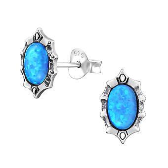 Oval - 925 Sterling sølv Opal og Semi ædle øret knopper - W23662x