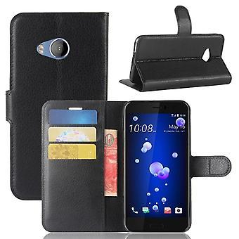 Tasche Wallet Premium Schwarz für HTC U11 Life Schutz Hülle Case Cover Etui Neu