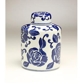 AA Importing 59943 8 Inch Blue & White Ginger Jar