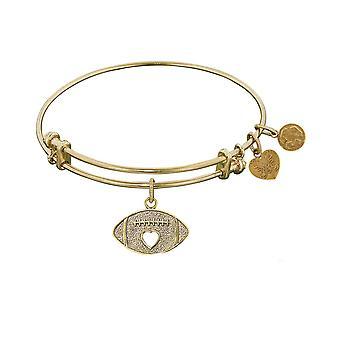 "Stipple Finish Brass Football  Angelica Bangle Bracelet, 7.25"""