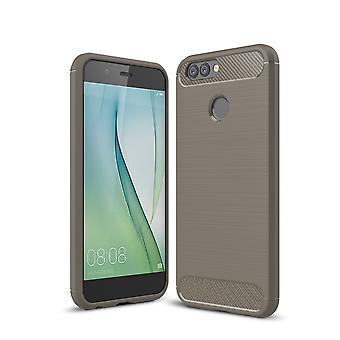 Huawei Nova 2 TPU caso carbono fibra óptica escovada cinza de capa de proteção