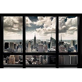 New York poster skyline window Manhattan skyline