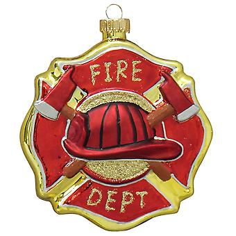Christmas By Krebs Firefighter Badge Maltese Cross Holiday Ornament Glass