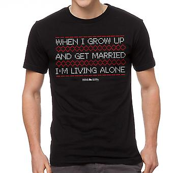 Home Alone Living Alone Quote Xmas Men's Black T-shirt