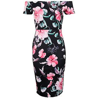 Ladies Short Sleeve Off Shoulder Bardot V Neck Back Split Floral Bodycon Dress