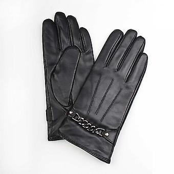 博杰森女士软黑色皮革手套