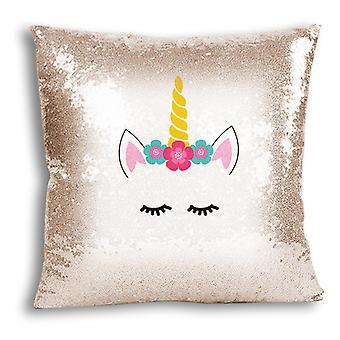 i-Tronixs - Unicorn Printed Design Champagne Sequin Cushion / Pillow Cover with Inserted Pillow for Home Decor - 0