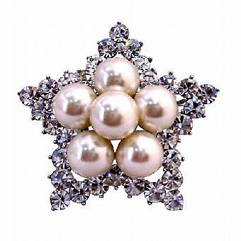 Stjärna brosch 12mm elfenben pärlor simulerade Diamond bröllop brosch