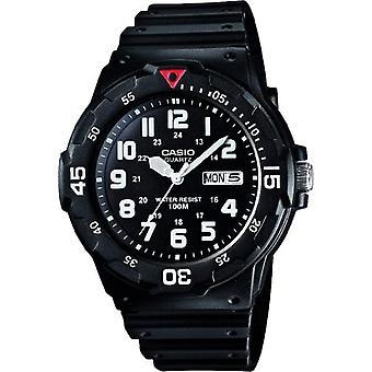 Casio men's analog quartz watch with black resin strap MRW-200 h-1BVES