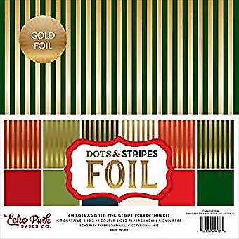 Echo Park Christmas Gold Foil Dots & Stripes 12x12 Inch Stripe Collection Kit