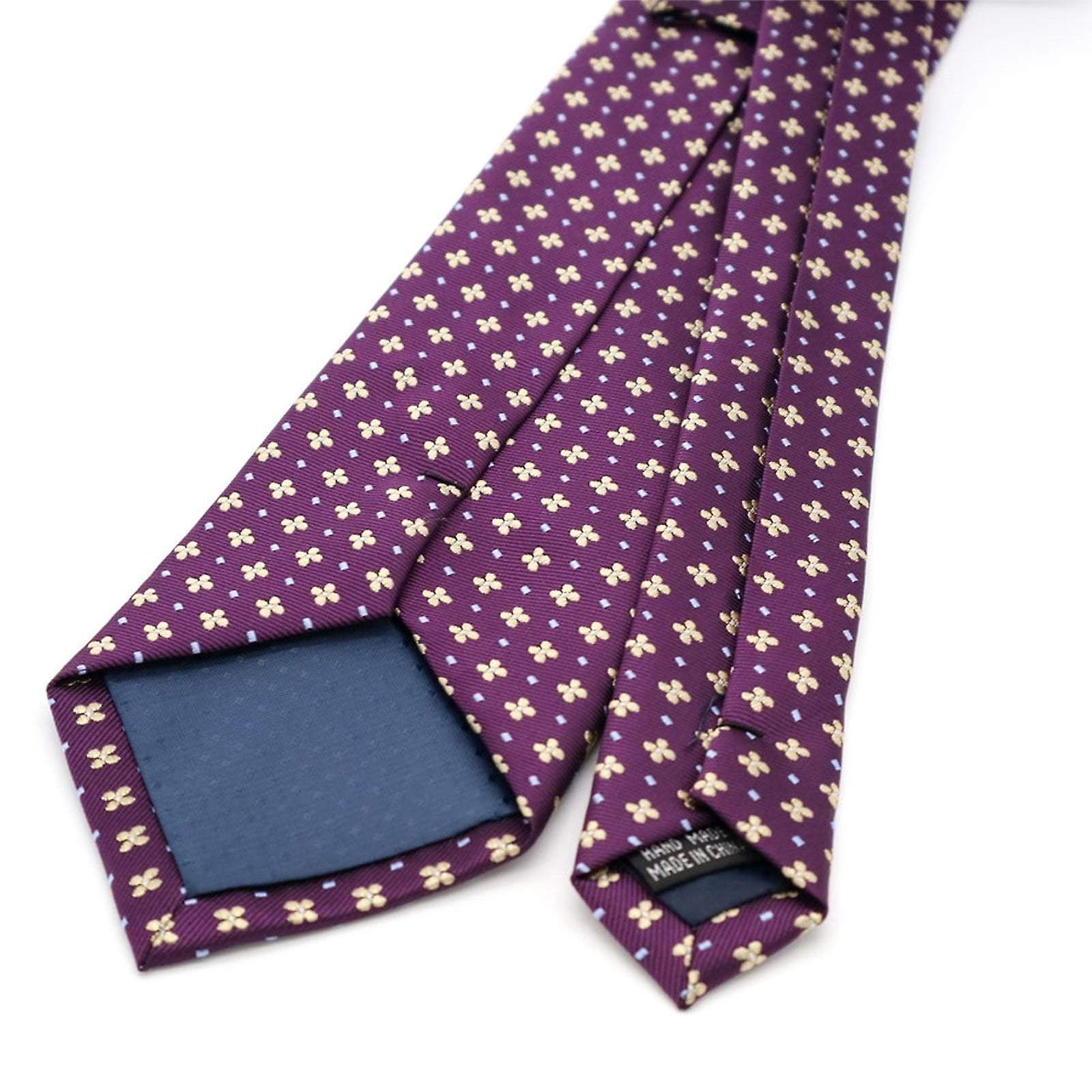Purple & yellow floral pattern pocket square & necktie