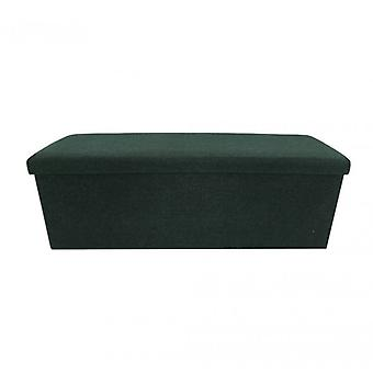 Möbel Rebecca Puff Container Pouf dunkelgrün Stoff 38x110x38