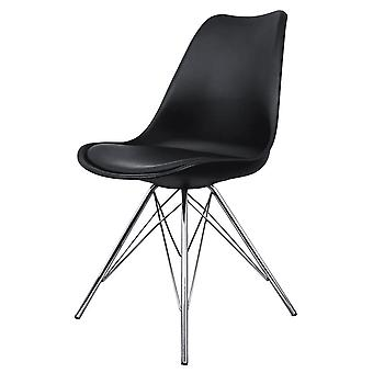 Fusion Living Eiffel Inspired Black Plastic Dining Chair With Chrome Metal Legs