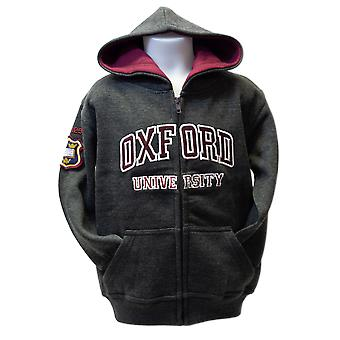 Ou129 licensed kids zipped oxford university™ hooded sweatshirt charcoal