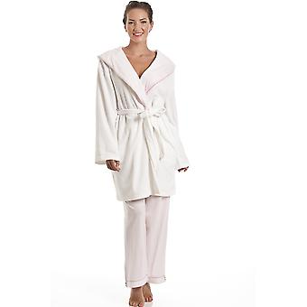 Camille White Fleece And Pink Polka Dot Shawl Collar Bathrobe