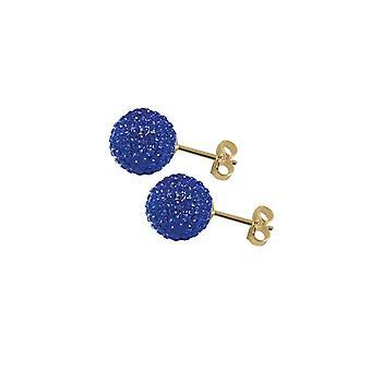 Éternelle Collection Shamballa 10mm Sapphire Blue Glitter Gold Tone à rotule boucles d'oreilles