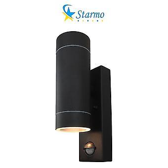 Starmo Dual Pir Wall Light Up & Down Illumination Motion Sensor Matt Black Ip44 Rated