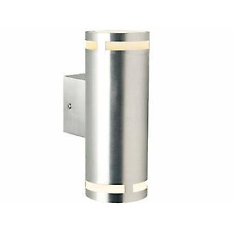 2 Light Outdoor Up / Down Large Wall Light Aluminium Ip54