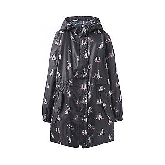 Joules Golightly chaqueta impermeable para mujer - perros en hojas