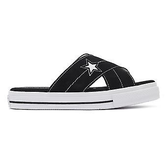 Converse One Star dame sort/hvid Suede slip sandaler