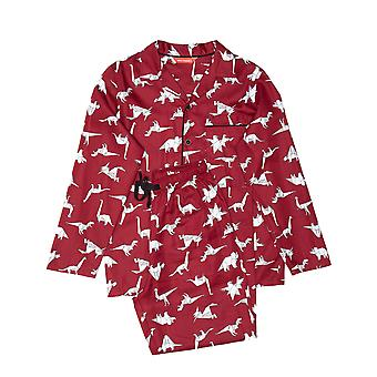 Minijammies 6383 Boy's Joseph Burgundy Red Mix Dinosaur Print Cotton Pyjama Set