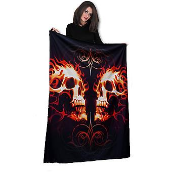 Wild star - flaming skull face off - fleece blanket / throw /tapestry