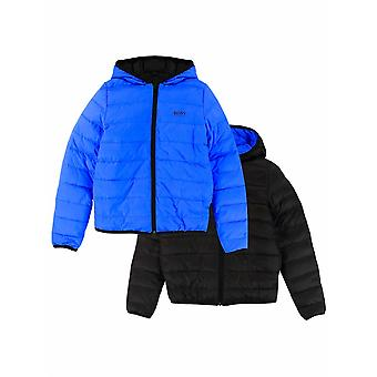 BOSS Kidswear Blue & Black Down Filled Reversible Jacket