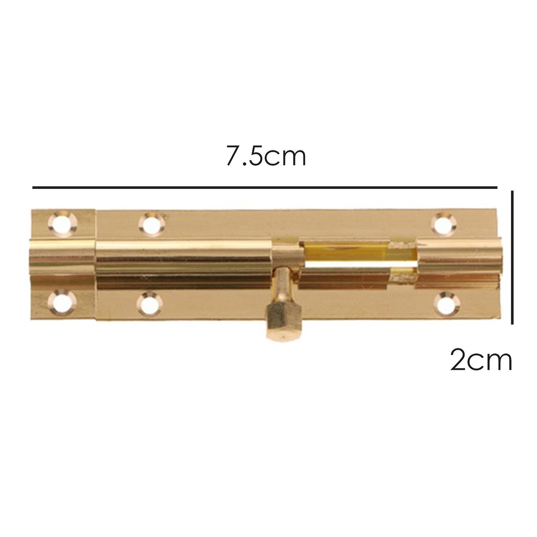 TRIXES 75mm Gold Slide Bolt  for Bathroom Home Yard Garden Screws Included