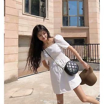 Sexy firkant krage kort ermet kjole