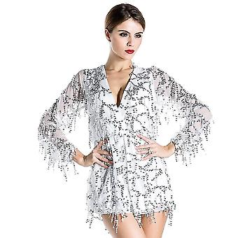 White embellished sequin playsuit romper